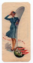 Collectible Airline luggage label ANA Australia pretty Air hostess   #047